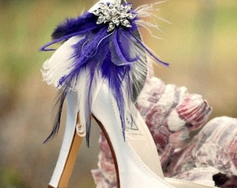 Shoe Clips Ivory Royal Purple Feathers & Rhinestone. Bridal Bridesmaid Statement. Boudoir Burlesque. Sparkle Crystals Blue Kelly Green White