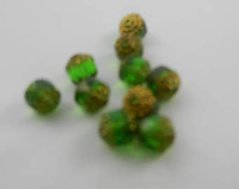7mm zech fire polished cut glass cathedral beads emerald green with bronze ends 10 pieces 01s8