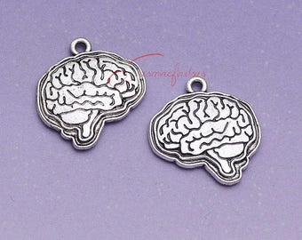 10PCS--23x23mm, Brain organ Charms, Antique Tibetan silver double side Brain organ Charm pendants , DIY supplies,Jewelry Making LM5006