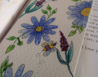 Blue Daisy bookmark,Flower Bookmark,Floral Bookmsrk, Book gift, Book Club Gift,Book Readers Gift