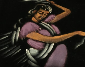 Vintage Framed 1970s Mexican Velvet Painting Flamenco Dancer in Purple Dress
