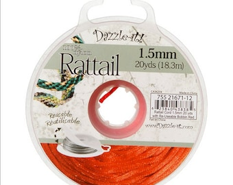 Dazzle it Rattail Cord, 1.5 mm red  color, 20yards per spool, each