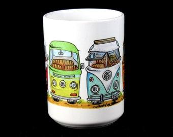 "The Rusty VW ""Bus Lineup"" bus, splitty, kombi, samba, type 2, bay, rusty, vw, volkswagen - Ceramic 15oz BIG coffee mug"