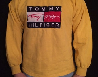 TOMMY HILFIGER sweatshirt vintage yellow shirt, 90s hip-hop clothing, 1990s hip hop shirt, OG, gangsta rap, sewn, size L Large