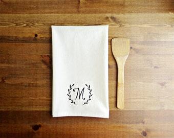 Laurel Initial Decorative Kitchen Towel - Unbleached Cotton Muslin