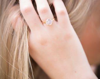 Rainbow Moonstone Cushion Cut Alternative Engagement Wedding Prong Setting Ring (Gold Sterling Silver Rose Gold June Birthstone )