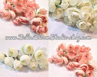Artificial flowers etsy ranunculus flowers blush pink artificial flowers silk flowers millinery ranunculus buds mightylinksfo Gallery