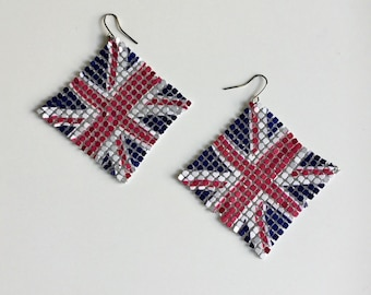 British Flag Earrings UNION JACK Mesh Dangle Vintage
