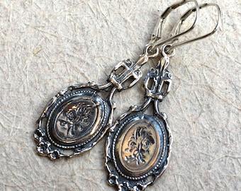 Gypsy earrings, dangle earrings, hippie earrings, Unique silver earrings, boho earrings, filigree long earrings - Between us - E8036
