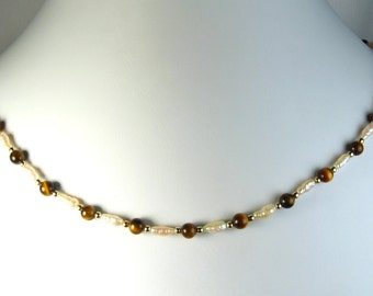 Freshwater Pearl and Tiger's Eye Necklace Gold 18""