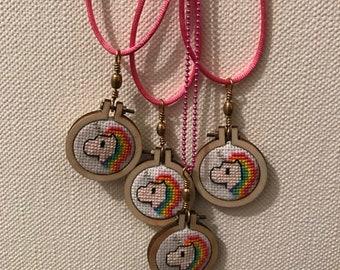 Cross stitch necklace / Cross Stitch - Unicorn.