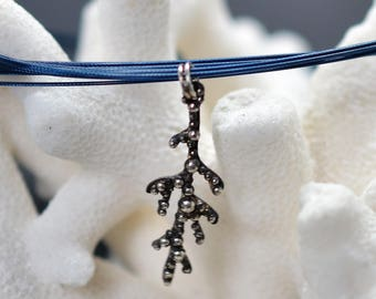 Millepora necklace Silver 925 oxidized and granulation