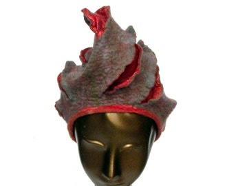 Lagenlook Felted Hat with Turban Style - Subtle Earthy Colors of Rose Gold Taupe and Coral - Seashell Shape with Radiating Slashes