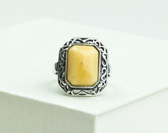 """Baltic Amber Ring White Amber Sterling Silver Natural Amber Jewelry """"Antique"""" Ring Women Amber Ring Elegant Perfect Amber Gift for Her"""
