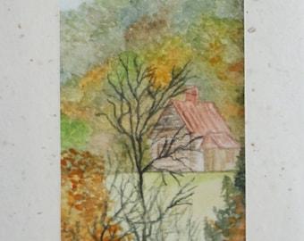 Aquarel painting, Handmade paper, Dutch painting, landscape in Autumn