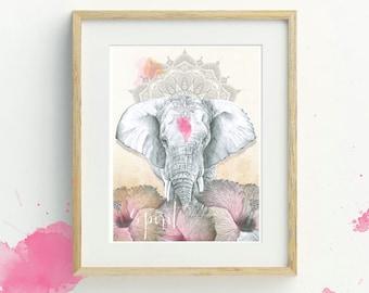Elephant Art Print, A4, Illustration Print, Bohemian Decor, Bohemian Elephant Wall Art, Elephant Illustration, Wildlife Print, Mandala Art