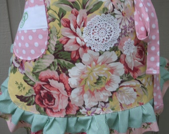 Aprons - Womens Aprons with Pink Roses - Handmade Aprons - Yellow Rose Apron - Shabby Chic Apron - Annies Attic Aprons - Handmade Aprons