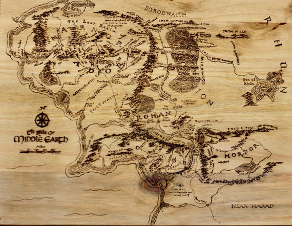 lord of the rings middle earth map pyrography