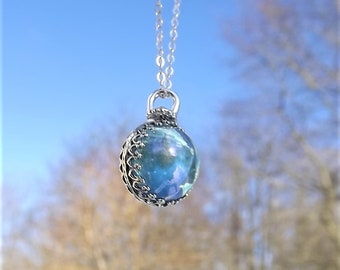Sterling Silver Aqua Aura Necklace - Aqua Aura Crystal Necklace - Aqua Aura Sphere - Sterling Silver Crystal Ball Necklace - Spinner