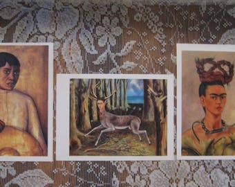 Frida Kahlo Postcard Prints - Set of 3 - The Wounded Deer, Self Portrait with Braid