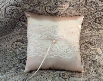 custom made white or ivory lace on champaign personlised ring bearer pillow