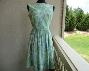 Green Floral Pleated Dress