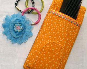 Small Hair Care Case - Barrettes and Bows Holder - Travel Pouch for Hair Jewelry - Ponytail Holders - Comb - Purse Size Barrette Organizer