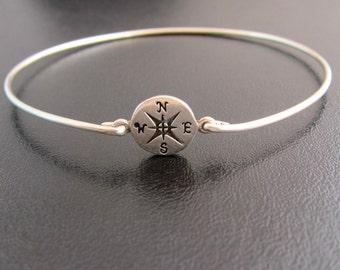 Compass Bracelet, Compass Jewelry, Nautical Jewelry, Ocean Jewlery, Ocean Bracelet, Beach Jewelery, Compass Bangle, Compass Jewlery