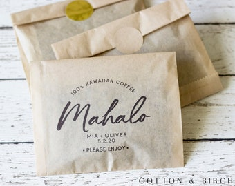 Wedding Coffee Favor Bag Kit - Set of 24 | Mahalo Coffee Favor Bag | Personalized Wedding Coffee Favor Kit | Destination Wedding Favors