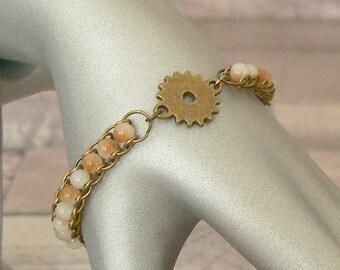 Cog Bracelet, Beaded Bracelet, Chain Mail Bracelet, Cog Jewellery, Steampunk Bracelet, Chainmaille Bracelet, Chain Maille Bracelet
