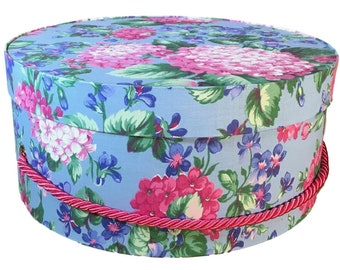 Hat Box in Bright Blue Pink Floral, Ready to ship, Round Box, Cottage Decor, Fabric Covered Box, Box Lid, Keepsake Box, Decorative Box
