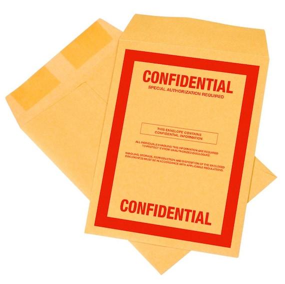10 pack confidential top secret classified 9x12 envelopes cia