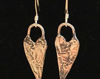 Rustic Hammered Sterling Silver Long Heart Earrings