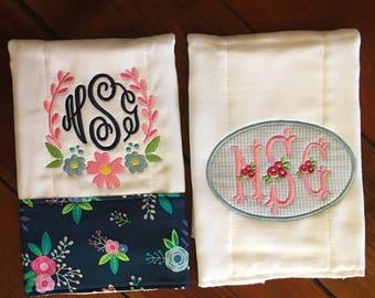 Baby Girl Burp Cloths, Baby Girl Monogram Burp Cloths, Monogram Burp Cloths, Burp Cloth Set, Baby Girl Monogram Burp Cloth Set, Baby Gift