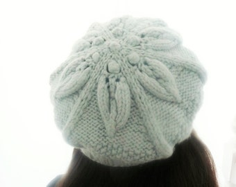 Knitting Pattern Hat Tam Beret Beanie - Floral Slouchy Hat