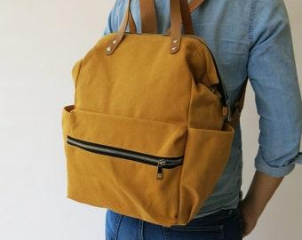 Canvas yellow mustard diaper Backpack ,handbag, Canvas backpack, Diaper Bag, Laptop bag, Women , unisex , School bag, Vegan Leather