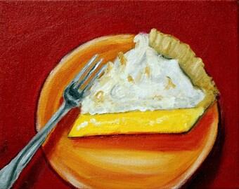 Lemon Meringue Pie Original Oil Painting Foodie Dessert 8 x 10