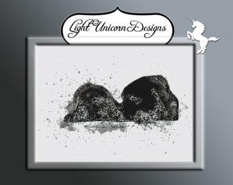 Sleeping Black Labradors Cross Stitch Pattern