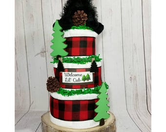 Lil' Cub Diaper Cake| Little Cub Baby Shower| Outdoors Diaper Cake| Little Bear Baby Gift| Baby Bear Diaper Cake| Baby Shower Centerpiece