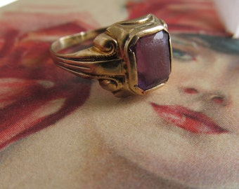 Art Deco Amethyst Ring sz 5 10K Gold Amethyst Ring Art Deco Ring Amethyst February Birthstone Ring 10K Gold Ring Sz 5