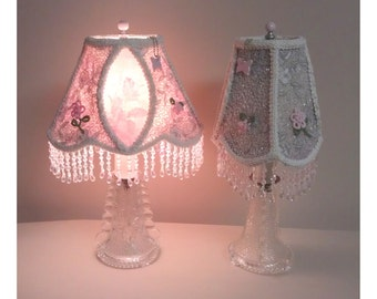 Pair 1920's Vintage Glass Dresser Lamps