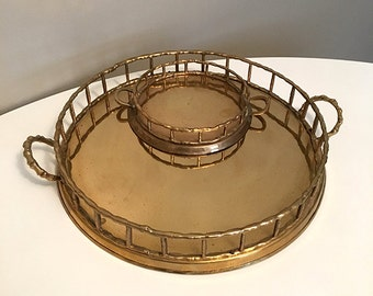Vintage Brass Bamboo Trays / Round Brass Bamboo Handled Tray Set / Brass Centerpiece / Chinoiserie / Coffee Table Decor / Boho Home Decor