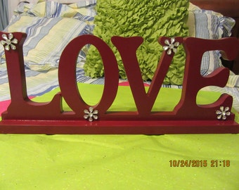 LOVE Sign UpCycled Cottage Chic Deep Burgundy With White Bling Flowers Home Decor Shelf Sitter Centerpiece Table Decor Victorian Decor Gift