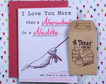 Letterpress Greeting Card with Gift Card Holder - Narwhal in a Necktie Gifts for Him / Gifts for Her