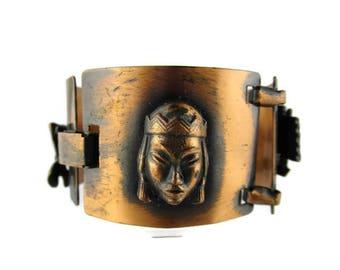 Asian Princess Copper Bracelet / Chinese Junk Boat / Terendak Rice  Hat / Good Fortune Symbol /Retro Copper /Chinoiserie Copper Bracelet