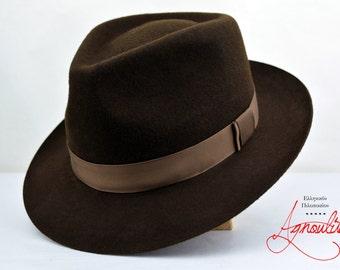 The True Dark - Chocolate Brown Wool Felt Teardrop Fedora -  Medium Brim - Men Women