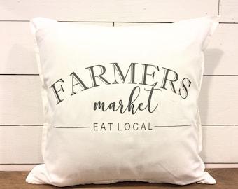 Farmhouse Pillow Cover - Farmers Market Eat Local pillow cover - Farmhouse Style Pillow Cover