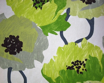 Lime Green Floral Fabric - Contemporary Floral Large Scale Design - Modern Drapery Yardage - Green Headboard
