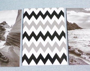 """3 black and white sea map poster canyon landscape nature 3 geometric pattern poster 13 x 18 cm, 5 x 7 """"inches with frame"""""""