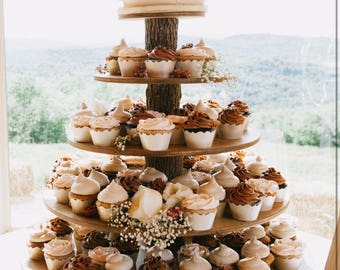 Rustic Cupcake Stand 5 Tier (Tower Holder) 75 Cupcakes 150 Donuts for Wedding, Birthday, Shower, Anniversary, Party, Pastries - Wood Wooden